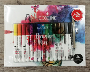 ECOLINE Brushpen - 15er Set + Block
